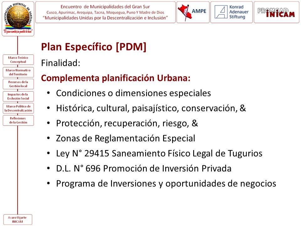 Plan Específico [PDM] Finalidad: Complementa planificación Urbana: